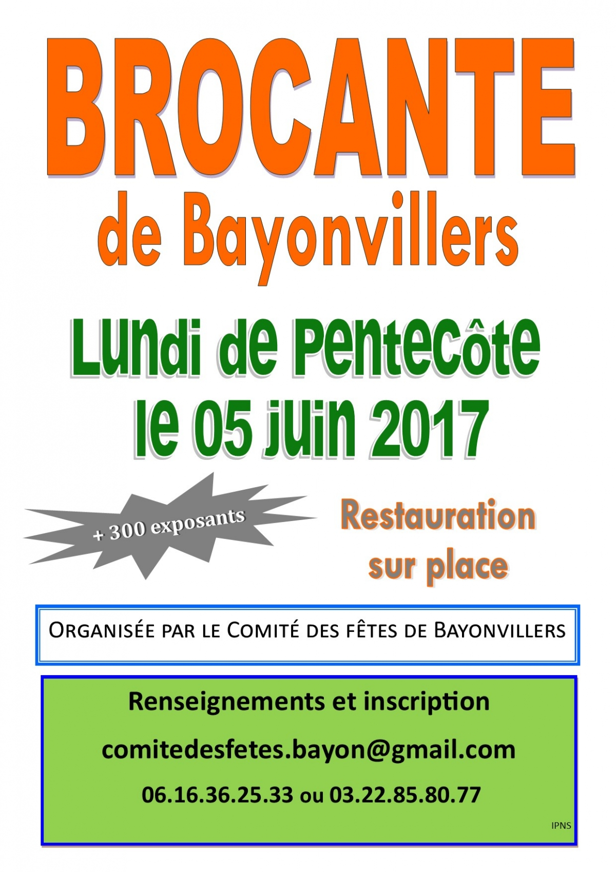 brocante lundi de pentec te le 05 juin 2017 comite des fetes de bayonvillers l 39 agenda sorties. Black Bedroom Furniture Sets. Home Design Ideas